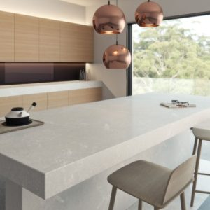 Alpine Mist Quartz kitchen countertop island vendor