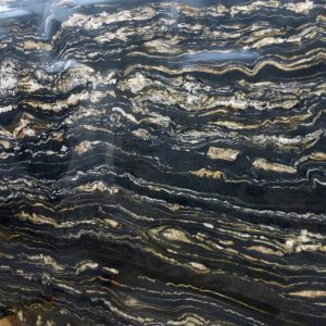 Tropical Storm Granite Slab Black Brown Banded Color Variation