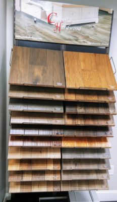Coast to Coast showroom wood-look flooring display rack