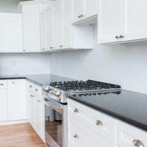 Black Pearl Granite kitchen counter with range