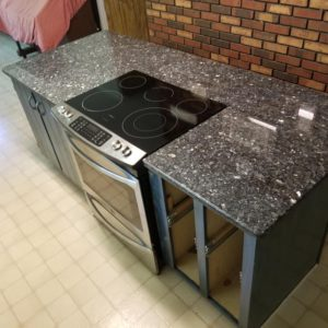Blue Pearl Granite kitchen countertop and range installed