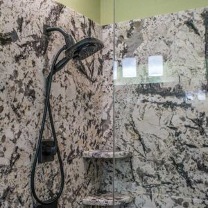 Delicatus White Granite bathroom shower enclosure