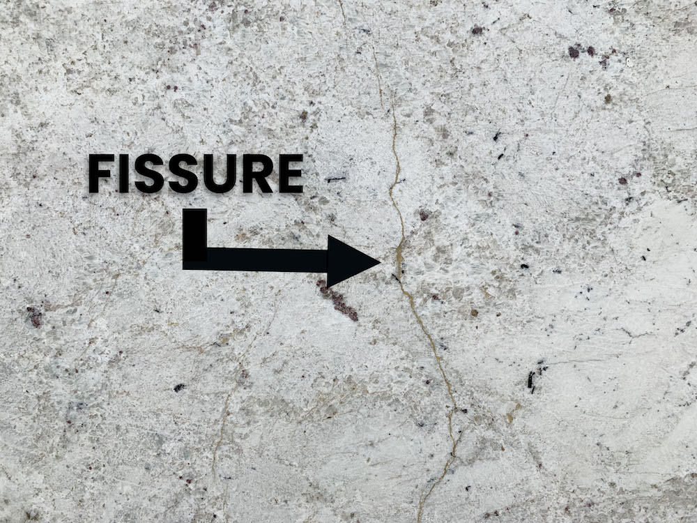 Example of natural fissures in granite slab