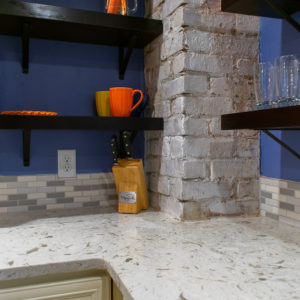 Tropical White Quartz kitchen countertop corner tile