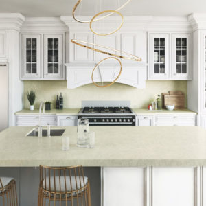 Silken Pearl Quartz kitchen countertops by Silestone