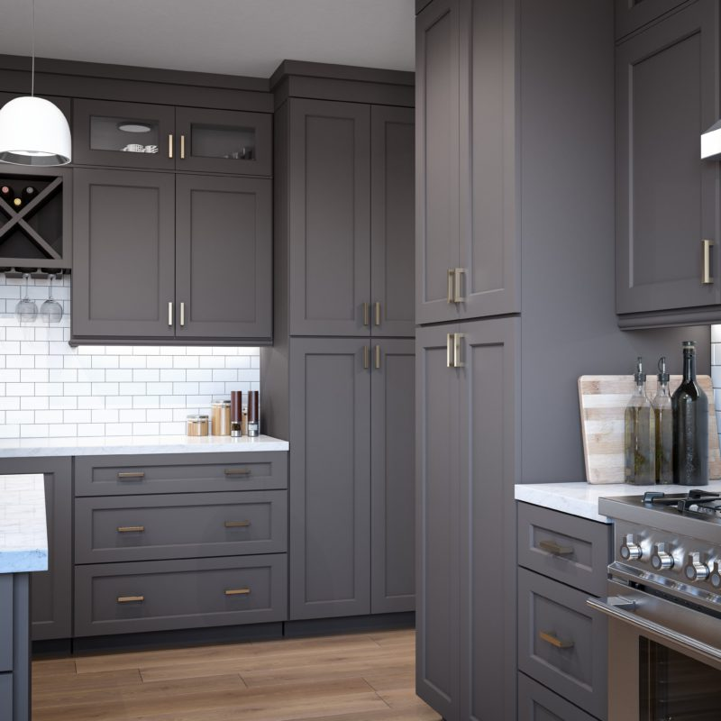 Shaker Gray Solid Wood Kitchen Cabinets