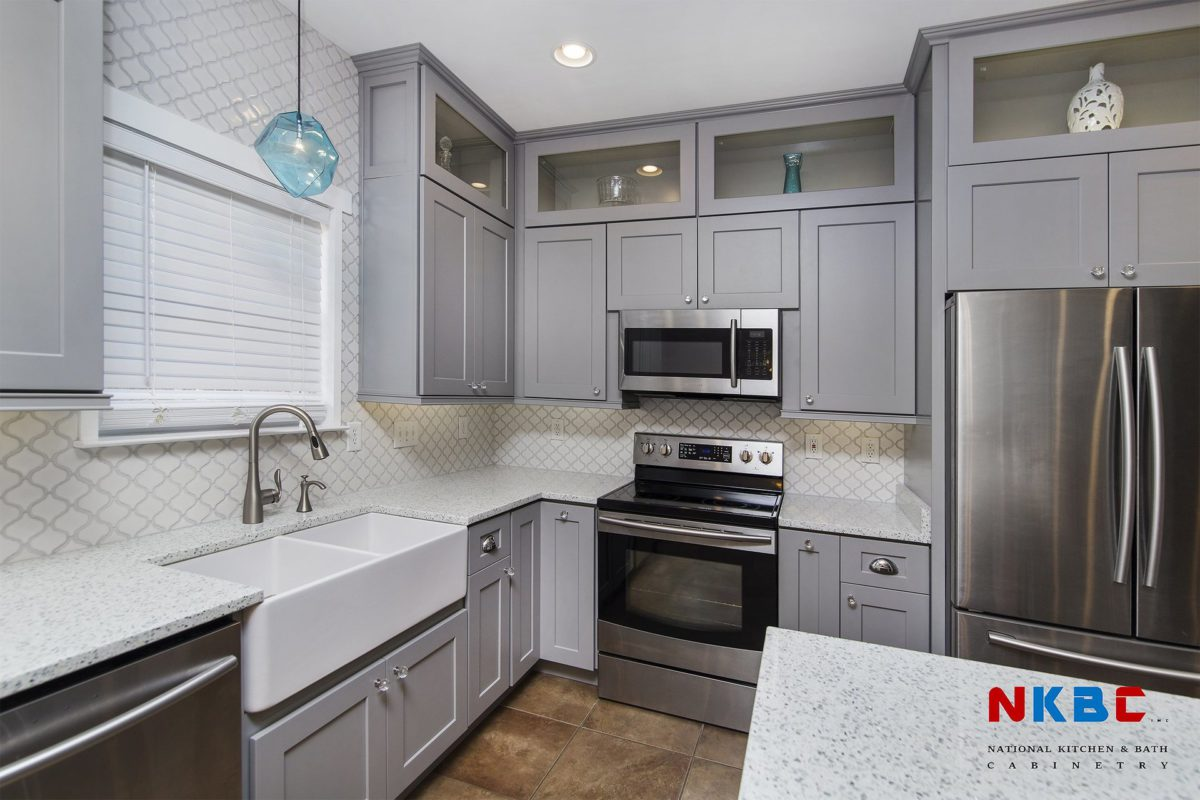 Shaker Pearl Gray Solid Wood Kitchen Cabinets
