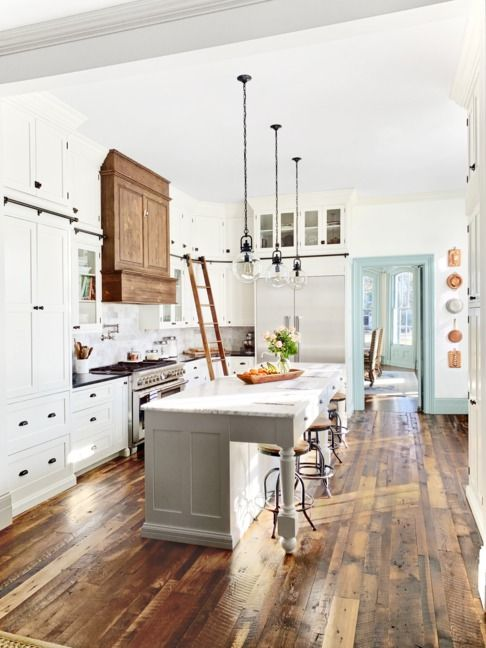 Carrara Quartz Countertops with Shaker Cabinet Island Modern Farmhouse Kitchen